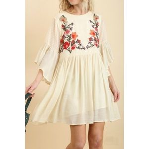 Umgee Floral Embroidered Bohemian Dress